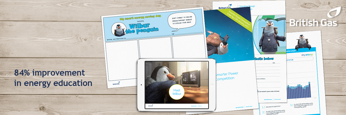 british gas resource montage with wilbur the penguin and '84% improvement in energy education' stat