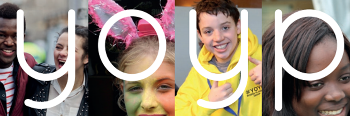four separate images of young people enjoying activities with the letters Y-O-Y-P in each image