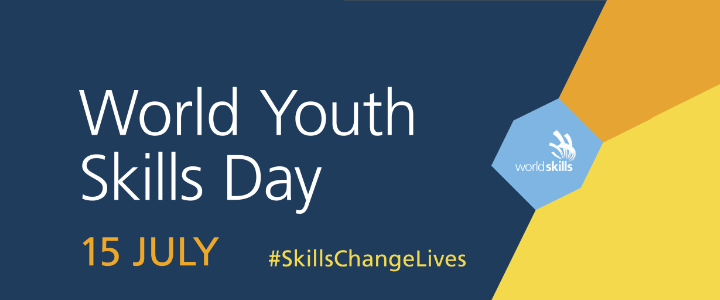 Youth Skills Day 2018 logo with date and hashtag skills change lives