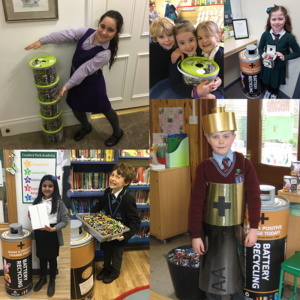 Collage of schools children with battery collections