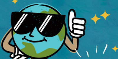 A graphic of the world with sunglasses and a thumbs up